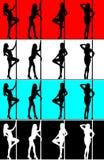Siluetta del danzatore del palo della donna Fotografia Stock Libera da Diritti
