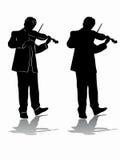 Siluetta del disegno di vettore del violinista Immagini Stock Libere da Diritti