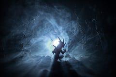 Siluetta del drago respirante del fuoco con le grandi ali su un fondo freddo blu scuro Fotografia Stock Libera da Diritti