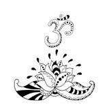 Siluetta del fiore di Lotus e simbolo OM Acqua lilly Fotografia Stock