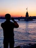 Siluetta del fotografo Fotografie Stock