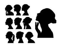 Siluetta del fronte della donna, progettazione di vettore di arte Fotografia Stock Libera da Diritti