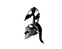 Siluetta del fronte pieno del casco di Spartans Fotografie Stock Libere da Diritti