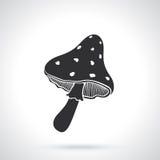 Siluetta del fungo dell'amanita Immagine Stock