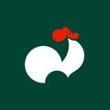 Siluetta del gallo di canto Modello di logo di vettore o icona del gallo Fotografia Stock Libera da Diritti
