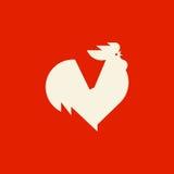 Siluetta del gallo di canto Modello di logo di vettore o icona del gallo Immagini Stock