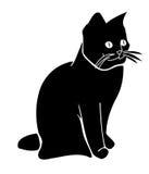 Siluetta del gatto nero Immagine Stock
