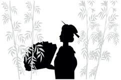 Siluetta del giapponese con il ventilatore Fotografia Stock Libera da Diritti