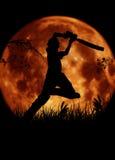 Siluetta del giocatore del cricket, battitore con il MOO arancio Fotografia Stock Libera da Diritti