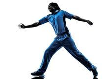 Siluetta del giocatore del cricket del lanciatore Fotografia Stock