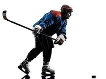Siluetta del giocatore dell'uomo del hockey su ghiaccio Fotografie Stock Libere da Diritti