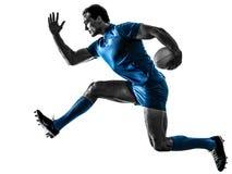 Siluetta del giocatore dell'uomo di rugby isolata Fotografie Stock Libere da Diritti