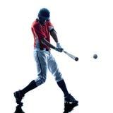 Siluetta del giocatore di baseball dell'uomo isolata Immagini Stock Libere da Diritti