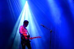 Siluetta del giocatore di chitarra dei abbiamo tagliato lo spettacolo dal vivo degli angoli (banda) al festival di Bime Immagini Stock Libere da Diritti