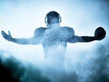 Siluetta del giocatore di football americano Immagini Stock Libere da Diritti
