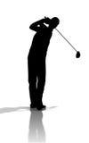 Siluetta del giocatore di golf Immagine Stock Libera da Diritti