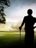 Siluetta del giocatore di golf Fotografia Stock Libera da Diritti