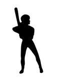 Siluetta del giocatore di softball Immagini Stock Libere da Diritti