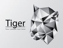 Siluetta del grafico di vettore poligonale della testa della tigre su grey Immagini Stock Libere da Diritti