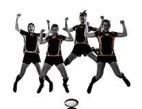Siluetta del gruppo dei giocatori delle donne di rugby Fotografia Stock