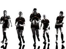 Siluetta del gruppo dei giocatori delle donne di rugby Immagini Stock