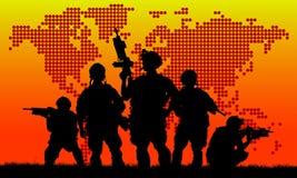Siluetta del gruppo militare Fotografia Stock Libera da Diritti