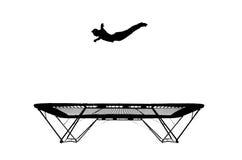 Siluetta del gymnast sul trampolino Fotografia Stock Libera da Diritti