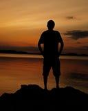 Siluetta del lago Fotografia Stock Libera da Diritti