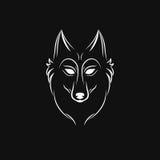 Siluetta del lupo Emblema d'annata di logo del fronte del lupo Fotografie Stock