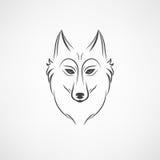 Siluetta del lupo Emblema d'annata di logo del fronte del lupo Fotografia Stock Libera da Diritti