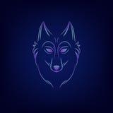 Siluetta del lupo Emblema d'annata di logo del fronte del lupo Fotografia Stock