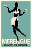 Siluetta del merengue di dancing della ragazza con i maracas Fotografia Stock Libera da Diritti