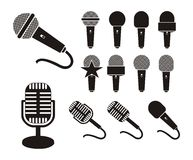 Siluetta del microfono Fotografia Stock Libera da Diritti