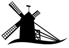 Siluetta del mulino a vento Fotografia Stock Libera da Diritti