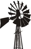 Siluetta del mulino a vento Fotografie Stock Libere da Diritti