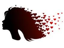 Siluetta del nero del ` s della ragazza con i cuori rossi Un'icona di vettore di un profilo del ` s della donna con i cuori Fotografia Stock Libera da Diritti