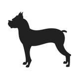 Siluetta del nero di vettore del cane del pugile Immagini Stock