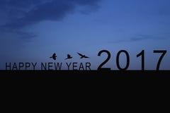 Siluetta del numero 2017 sul tetto e sul tramonto della casa nel twilig Fotografia Stock Libera da Diritti