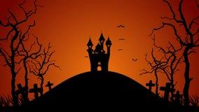 Siluetta del paesaggio del cimitero di Halloween Notte spettrale di Halloween Collina e castello frequentati Animazione del ciclo illustrazione di stock