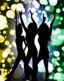 Siluetta del partito delle ragazze Fotografia Stock