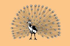 Siluetta del pavone su una retro priorità bassa di colore Fotografia Stock Libera da Diritti