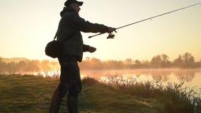 Siluetta del pescatore archivi video