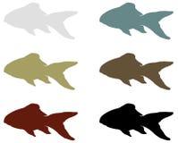 Siluetta del pesce - animali acquatici del craniate del branchia-cuscinetto che mancano degli arti con le cifre illustrazione di stock