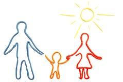 Siluetta del Plasticine della famiglia illustrazione di stock