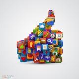 Siluetta del pollice con molte icone dell'applicazione Fotografia Stock