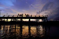 Siluetta del ponte Fotografia Stock