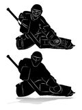Siluetta del portiere dell'hockey Immagine Stock