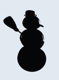 Siluetta del pupazzo di neve Fotografia Stock Libera da Diritti