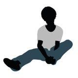 siluetta del ragazzo nella posa felice di conversazione illustrazione vettoriale
