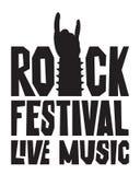 Siluetta del segno della mano della roccia e festival rock di parole Immagini Stock Libere da Diritti